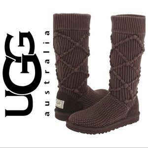 UGG 5879 Classic Argyle Knit Cardi Boot Brown sz 8